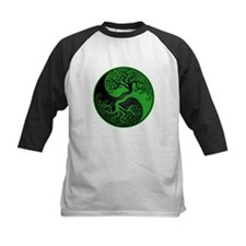 Green and Black Yin Yang Tree Baseball Jersey
