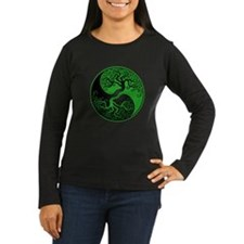 Green and Black Yin Yang Tree Long Sleeve T-Shirt