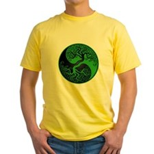 Green and Black Yin Yang Tree T-Shirt