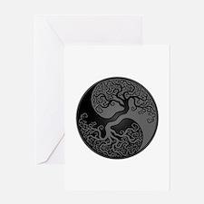 Grey And Black Yin Yang Tree Greeting Cards