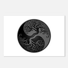 Grey And Black Yin Yang Tree Postcards (Package Of