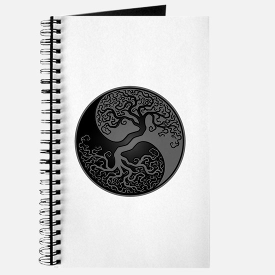 Grey And Black Yin Yang Tree Journal