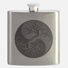 Grey and Black Yin Yang Tree Flask