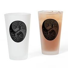 Grey and Black Yin Yang Tree Drinking Glass