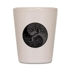 Grey and Black Yin Yang Tree Shot Glass