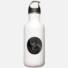 Grey and Black Yin Yang Tree Water Bottle