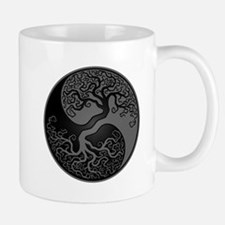Grey and Black Yin Yang Tree Mugs