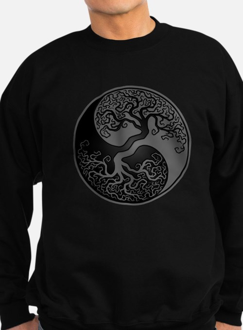 Grey and Black Yin Yang Tree Jumper Sweater