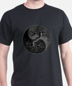 Grey and Black Yin Yang Tree T-Shirt