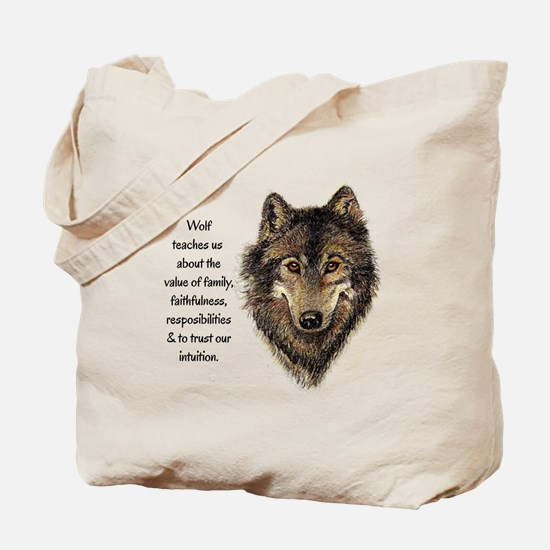 Wolf Totem Animal Guide Watercolor Nature Art Tote
