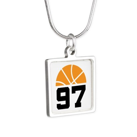 Basketball Number 97 Player Gift Silver Square Nec