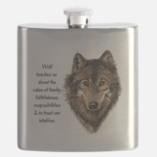 Wolf Totem Animal Guide Watercolor Nature Art Flas