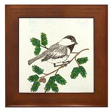 chickadee in a tree Framed Tile
