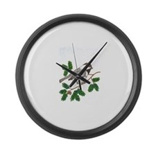 chickadee in a tree Large Wall Clock