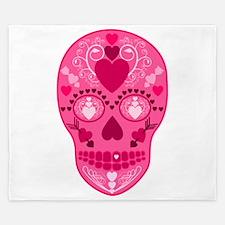 Pink Hearts Sugar Skull King Duvet