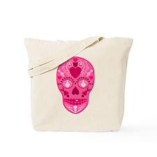 Pink Hearts Sugar Skull Tote Bag