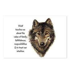 Wolf Totem Animal Guide Watercolor Nature Art Post