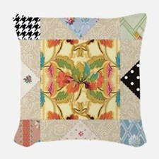Vintage Star Quilt Pattern Woven Throw Pillow