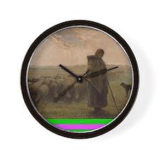 Shepherdess and Her Flock Wall Clock