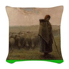 Shepherdess and Her Flock Woven Throw Pillow