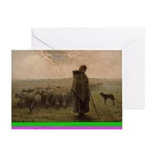 Shepherdess and Her Flock Greeting Card
