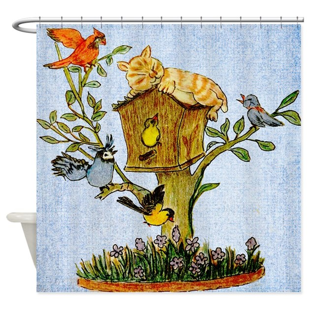 Birds And Cat Shower Curtain Shower Curtain By