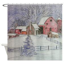 Winter Barn Shower Curtain Shower Curtain