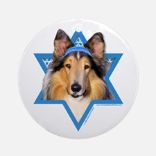 Hanukkah Star of David - Collie Ornament (Round)