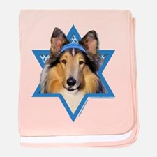 Hanukkah Star of David - Collie baby blanket