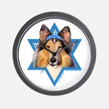 Hanukkah Star of David - Collie Wall Clock