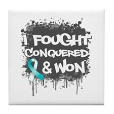 Cervical Cancer Fought Won Tile Coaster