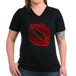 Kiss My Women's V-Neck Dark T-Shirt