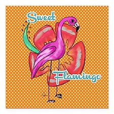 "Sweet flamingo Square Car Magnet 3"" x 3"""