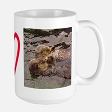 Sea Otters Holding Hands Large Mug