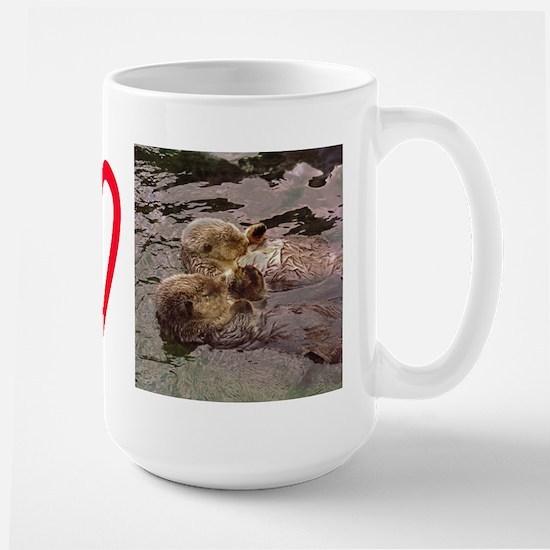 Sea Otters Holding Hands Large Mug