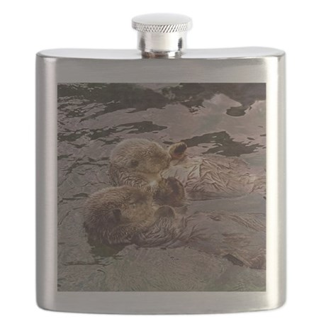Sea Otters Holding Hands Flask