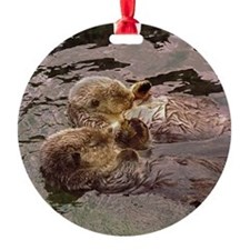 Sea Otters Holding Hands Ornament