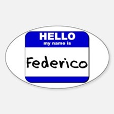 hello my name is federico Oval Decal