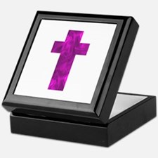 Purple Catholic Crucifix 32 Keepsake Box