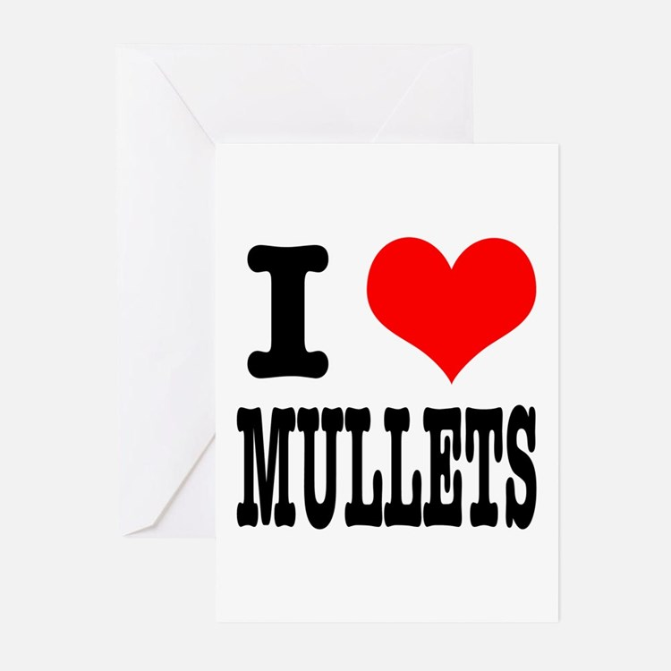 I Heart (Love) Mullets Greeting Cards (Package of