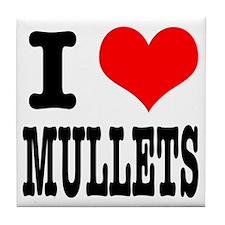 I Heart (Love) Mullets Tile Coaster