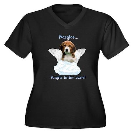 Beagle Angel Women's Plus Size V-Neck Dark T-Shirt