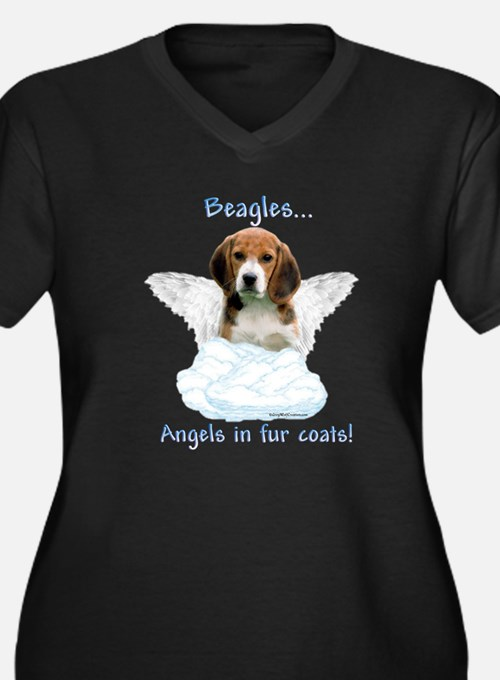 Beagle Angel Women's Plus Size V-Neck Dark T-Shirt