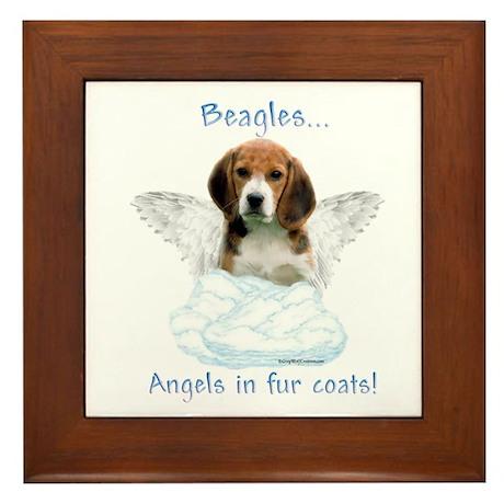 Beagle Angel Framed Tile