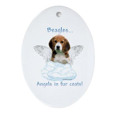 Beagle Angel Oval Ornament