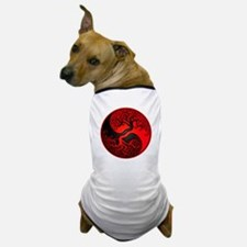 Red and Black Yin Yang Tree Dog T-Shirt
