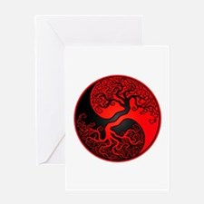 Red And Black Yin Yang Tree Greeting Cards