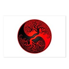 Red And Black Yin Yang Tree Postcards (Package Of