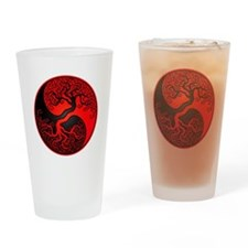 Red and Black Yin Yang Tree Drinking Glass