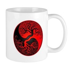 Red and Black Yin Yang Tree Mugs